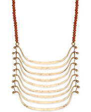 NWT Lucky Brand Gold-tone Pendant & Carnelian Stone Bead Necklace