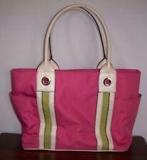 AMANDA SMITH Large Pink & White Nylon TOTE / SHOPPER / BEACH BAG ~ Ex. Cond.