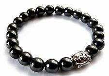 BEAUTIFUL HEMATITE BEAD BRACELET WITH SILVER BUDDHA - HEALING / REIKI