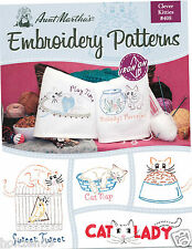 Clever Kitties Aunt Martha's Hot Iron Embroidery Transfers Booklet #408