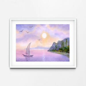 Sunset Journey Sail Boat Beach Watercolour Poster Wall Art Canvas Print A3