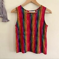 Vintage • striped rainbow tank top blouse fitted