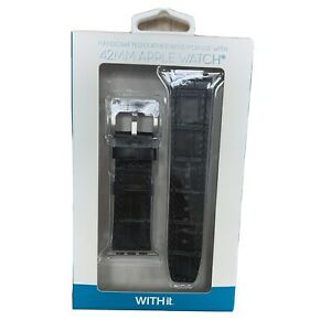 WITHit Band for 42mm Apple Watch Handcrafted Premium Black Leather Band