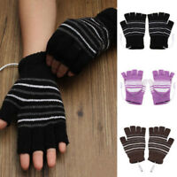 USB Heated Fingerless Cover Gloves Thermal Hand Warmer Electric Heating Gloves