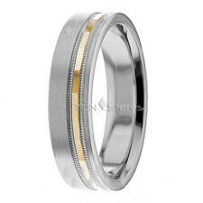 10K SOLID GOLD TWO TONE MENS WEDDING BANDS WOMENS 6MM WEDDING BAND RINGS SETS