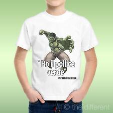 T-Shirt Bambino Ragazzo Citazione Divertente Hulk Pollice Verde Idea Regalo