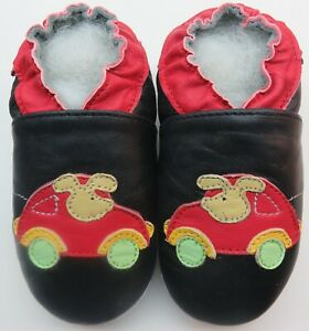 soft sole baby leather shoes car mouse black 6-12 m minishoezoo free shipping
