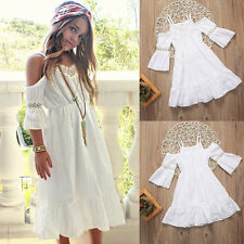 Flower Girl Kids Princess Vintage Lace Dress Wedding Party Pageant Dresses Beach