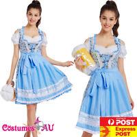 Ladies Oktoberfest Costume Blue Bavarian Beer Maid Wench German Fancy Dress