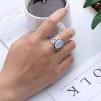 Retro Oval natürlicher Edelstein Sterling Silber Regenbogen Mondstein Ring DE