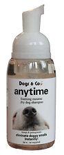 """""""anytime'dry DOG SHAMPOO. rids puzza totalmente compresi FOX & badger. senza risciacquo."""