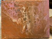 Orange Sherbert - Modern Art Original Abstract Acrylic Pour Painting On Canvas