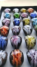 Wholesale Lots 24Pcs Summer Style Murano Glass Lampwork Flower Rings