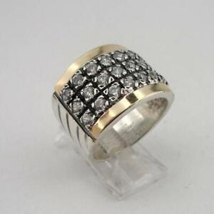 Fashion Two Tone 925 Silver Rings Women Retro White Sapphire Wedding Ring Size11