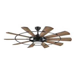 "60"" Large Windmill Ceiling Fan + Remote Industrial Farmhouse Steampunk Light"