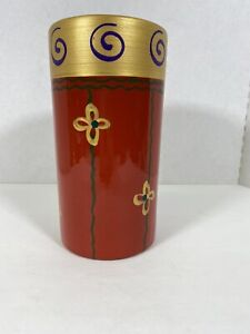 """Pier 1 Imports Pottery Vase Pot 8.5"""" tall red floral gold Terra Cotta EUC"""