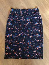 LuLaRoe Black Feather Print Pencil Skirt Med.