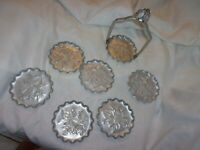 vintage antique flower rose aluminum with stand 7 drink coasters