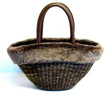 BATH & BODY WORKS BROWN WOVEN TOTE, SATCHEL WITH FAUX FUR