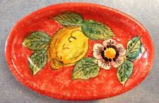 Vietri pottery-Red Lemon 6inch Oval.Made painted by hand in Italy