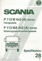 Scania P 113 Spezifikation 28 Prospekt 1992 4/92 brochure prospectus broschyr
