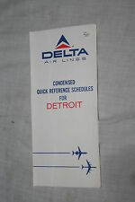 Vintage Delta Airl Lnes Detroit Quick Reference Schedule February 1, 1971