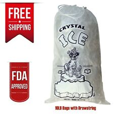 CRYSTAL 10 LB LBS 1.5 MIL Plastic Ice Bag Bags With Drawstring PACK OF 100 Case