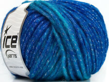 Lot of 8 Skeins Ice Yarns SOFT STAR Knitting Wool Blue Turquoise Silver