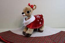 Build A Bear  CLARICE Christmas Rudolph /Reindeer Light Up Heart Christmas Cape