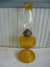 Vintage Hurricane Oil Lamp P & A Risdon Eagle DK Yellow Glass Pedestal Complete