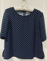 Anthropologie Dalia Top Blouse Navy Blue & White Polka Dots Size Medium