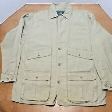 Orvis Hunting Jacket Men's Large Safari Leather Trim Hunting Barn Coat