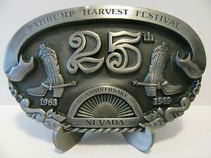 1989 Pahrump Harvest Festival Fair & Pro Rodeo Nevada Belt Buckle LE  25th Anniv