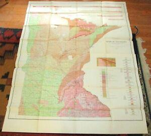 "1932 two-plate, 50"" x 63"" geologic survey map of Minnesota"