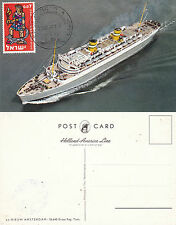 DUTCH CRUISE SHIP SS NIEUW AMSTERDAM A SHIPS CACHED POSTCARD POSTED IN ISRAEL