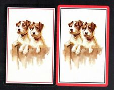 Vintage Swap/Playing Cards - Cute Terriers on Fence (LINEN)