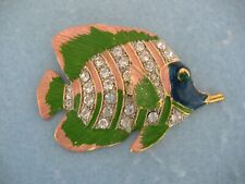 Brooch Or Pin With Clear Crystals Gold Toned Pink And Green Fish