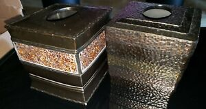 LOT 2 Square Metal Brown Tissue Box Textured Glass and Hammered EUC