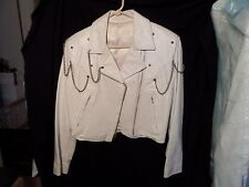 VTG ULTRA RARE 80'S WHITE LEATHER BIKER MOTORCYCLE JACKET W/ CHAINS & STUDS