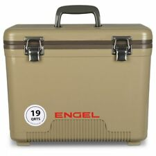 Engel Coolers 19 Quart 32 Can Capacity Lightweight Insulated Cooler Drybox, Tan