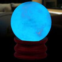 Natural Blue Luminous Quartz Crystal Sphere Ball Glow In The Dark Stones + Base