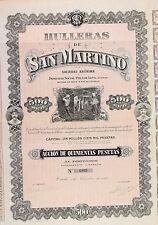 24.-(A) HULERAS DE SAN MARTINO, Pola de Lena/Oviedo  Acción de 500 pesetas(1906)