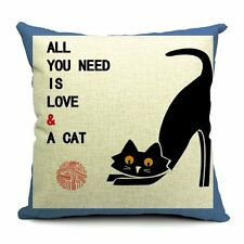 45cm Vintage Cotton Linen Cushion Cover Home Decor Decorative pillow Love Cat