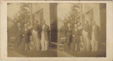 Groupe d'hommes Photo artistique Stereo Vintage albumine ca 1870