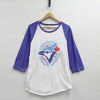 Vintage Toronto Blue Jays 3/4 Sleeve 50/50 Raglan Shirt Size XL 80s MLB Baseball