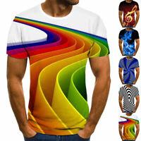 Summer 3D Print Mens Casual Crew Neck T-Shirt Short Sleeve Cool Graphic Tee Tops