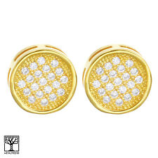 Men's Iced CZ 14K Gold Plated 10 mm 3D Round Screw Back Stud Earrings BE 030 G