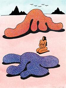 KEN PRICE - Mermaid Drawing (62x46.5), CANVAS, POSTER FREE P&P