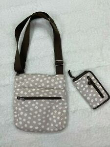Thirty One Everything Crossbody Purse and Wallet Gray Polkadot NEW Without Tags