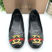Gucci Authentic Gold GG Logo Webbing Black Leather Flats 39 US 9 W/ Box $795
